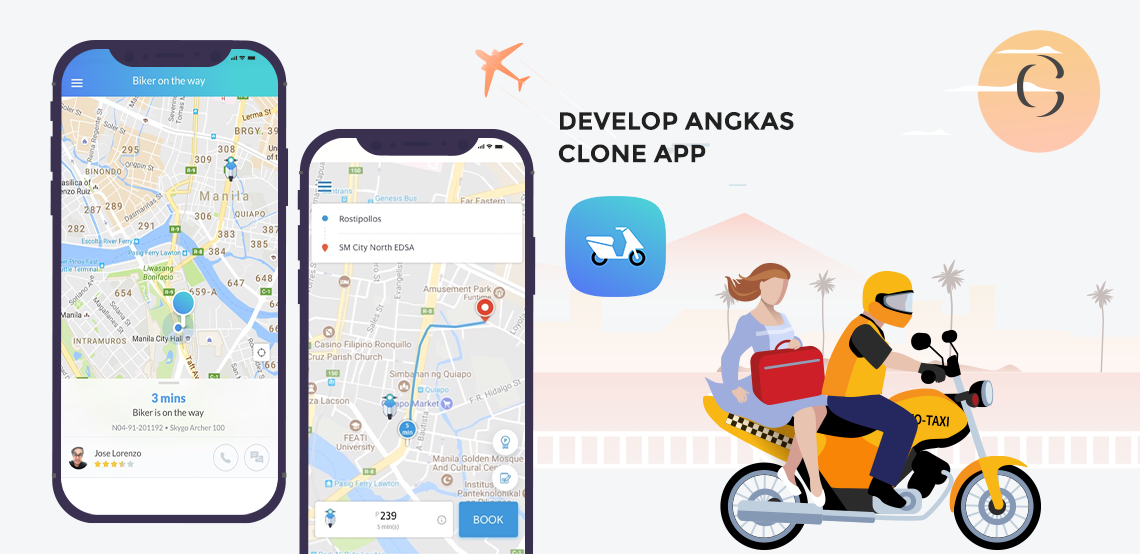 Develop Angkas clone app which is challenging Grab in Manila and proving that a smallnew startup can surpass bigold player